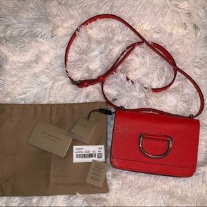 Burberry D ring small cute red bag NWT